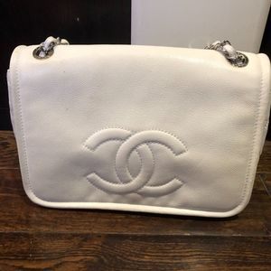 CHANEL Timeless Cc White Lambskin Leather